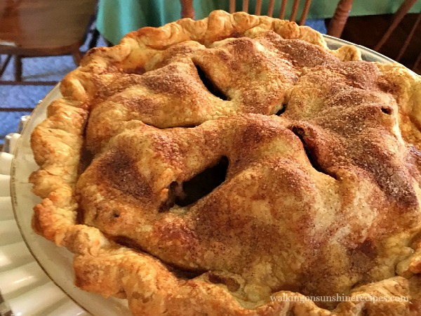 Homemade Apple Pie baked and ready to serve from Walking on Sunshine Recipes.
