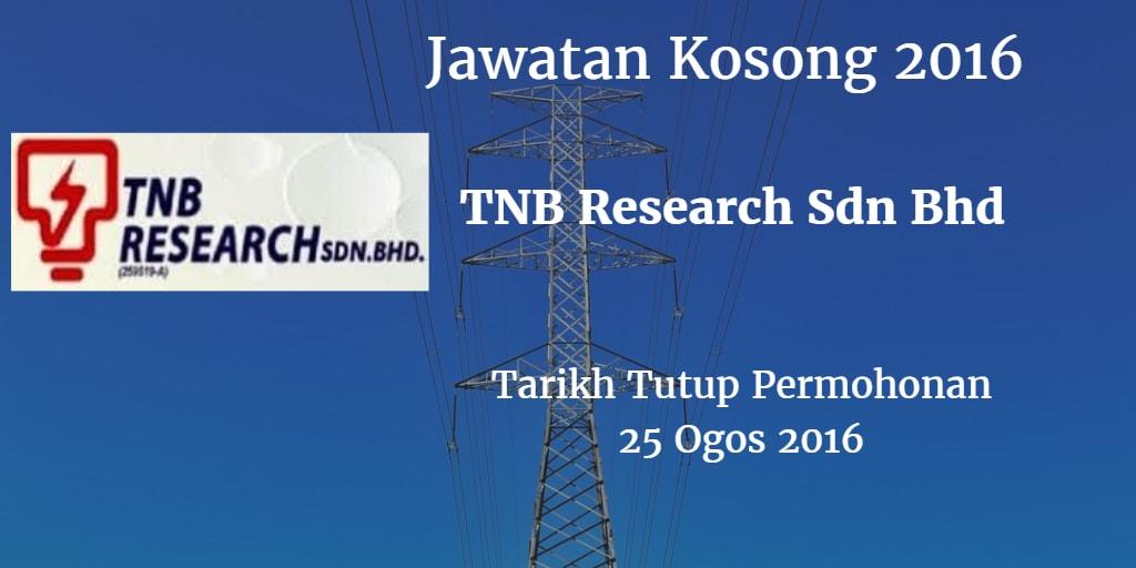 Jawatan Kosong TNB Research Sdn Bhd 25 Ogos 2016