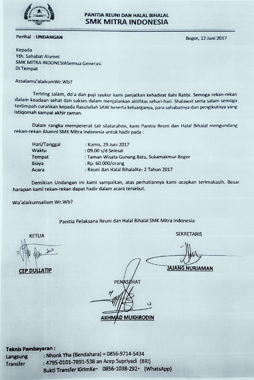 Surat Undangan Resmi Acara Reuni Dan Halal Bihalal Smk Mitra