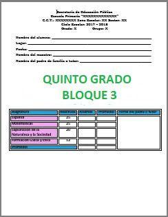 Exámenes Quinto grado Ciclo Escolar 2017-2018