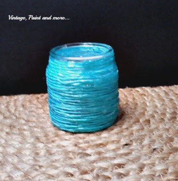 Vintage, Paint and more... DIY raffia wrapped votive jar