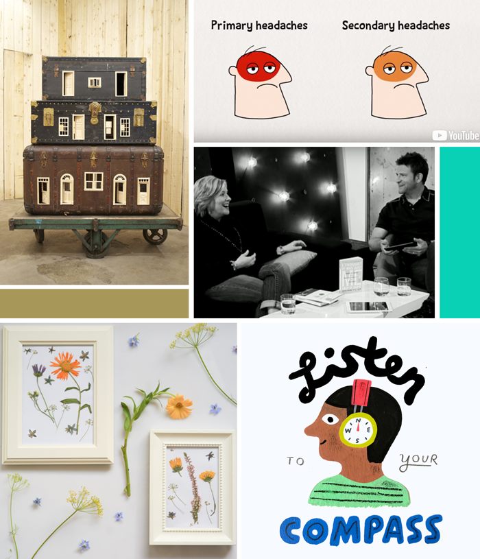 May favorites Creative Pep Talk how to grow an audience, Brené Brown vulnerability, repurposed art vintage suitcases by bo christian larsson, TEDed headaches