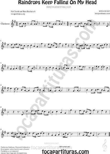 Clarinete Partitura de Raindrops Keep Falling on my Head Sheet Music for Clarinet Music Score