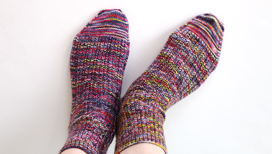 Top View of Hand Knit Wool Socks in Twin Rib Pattern