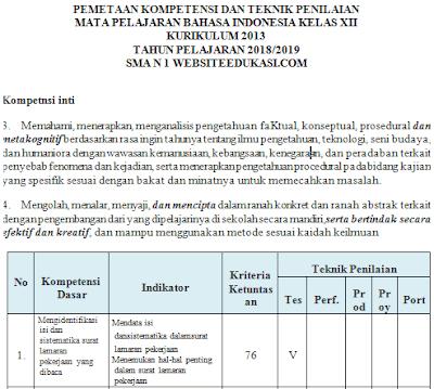 File Pendidikan Pemetaan KD Bahasa Indonesia Kelas 12 K13 Revisi 2018