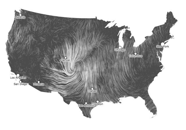 Wind map, by Fernanda Viegas and Martin Wattenberg