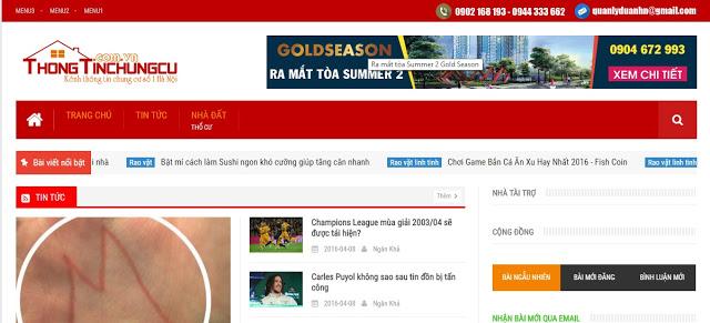 Templates blogspot thông tin chung cư chuẩn seo