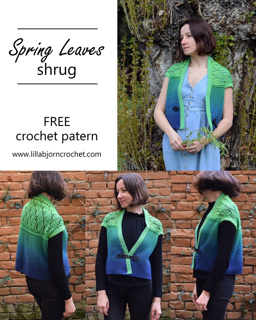Spring Leaves Shrug_FREE crochet patterns by www.lillabjorncrochet.com