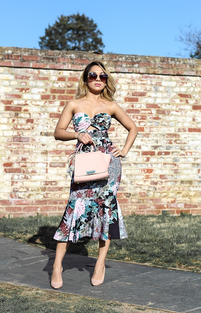 bodycon midi floral dress