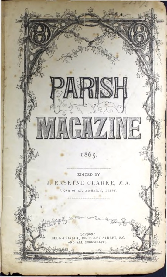 Photograph of the first edition of the St Mary's parish magazine May 1, 1865. From The Peter Miller Collection