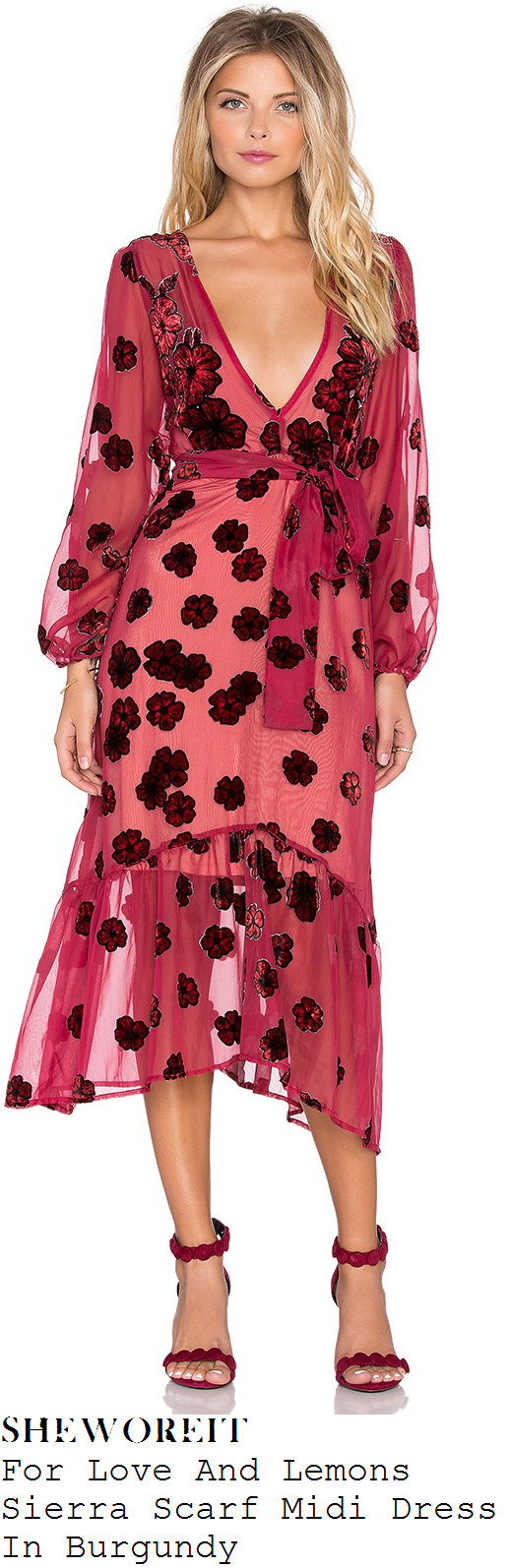 sam-faiers-for-love-and-lemons-sierra-burgundy-pink-poppy-floral-print-sheer-midi-dress