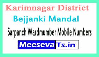 Bejjanki Mandal Sarpanch Wardmumber Mobile Numbers List Part I Karimnagar District in Telangana State