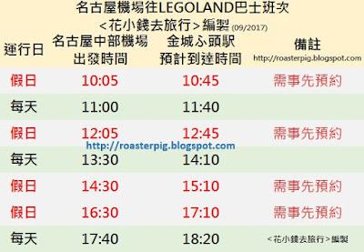 名古屋機場去LEOGLAND的巴士時間表