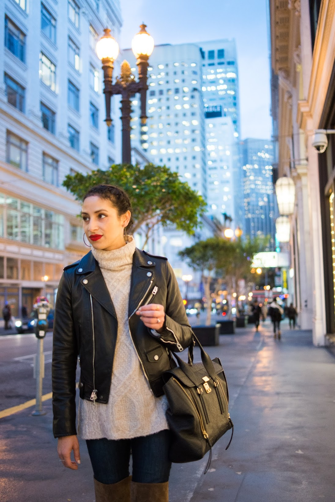 OTK boots, Circs by Sam Edelman, over the knee boots, chunky turtleneck, leather moto jacket, red lips, San Francisco nights, Financial District, startup style
