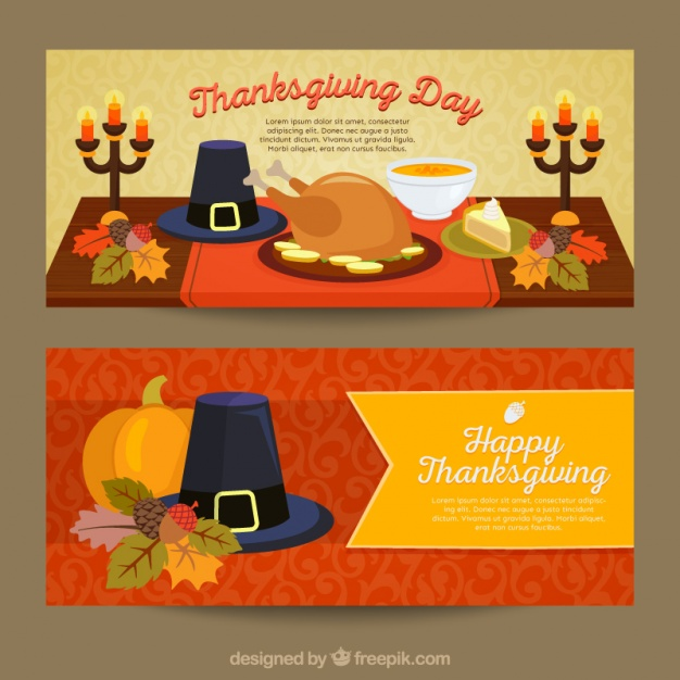 Colorful banners to celebrate thanksgiving Free Vector