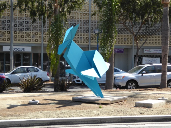 Chase rabbit Hacer sculpture Santa Monica Boulevard