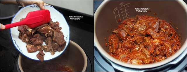 4. Put in the beef cubes into the PHILIPS All-In-One Pressure Cooker inner pot. Stir for 20 seconds.