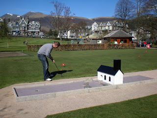 Playing minigolf in Keswick
