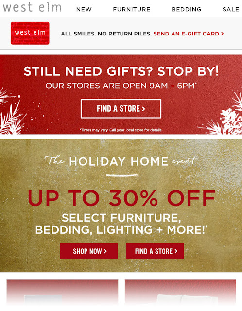 West Elm holiday email campaign