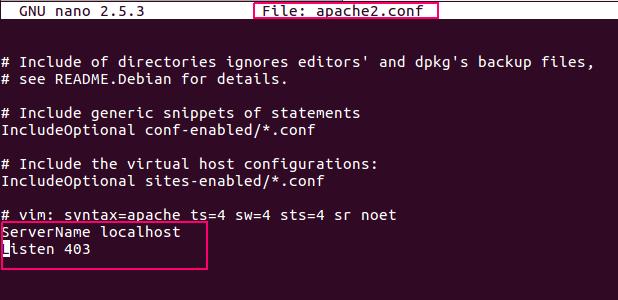 edit apache config file