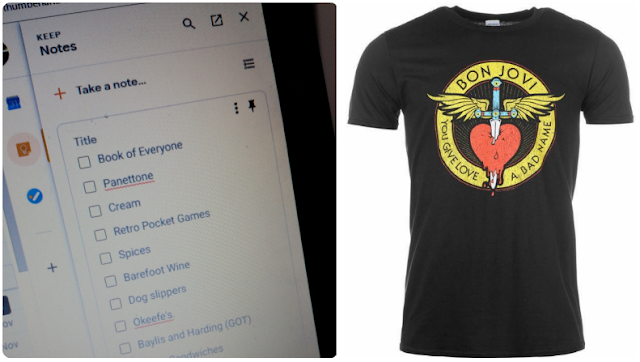 A to do list app which I found attached to gmail and a Bon Jovi tshirt