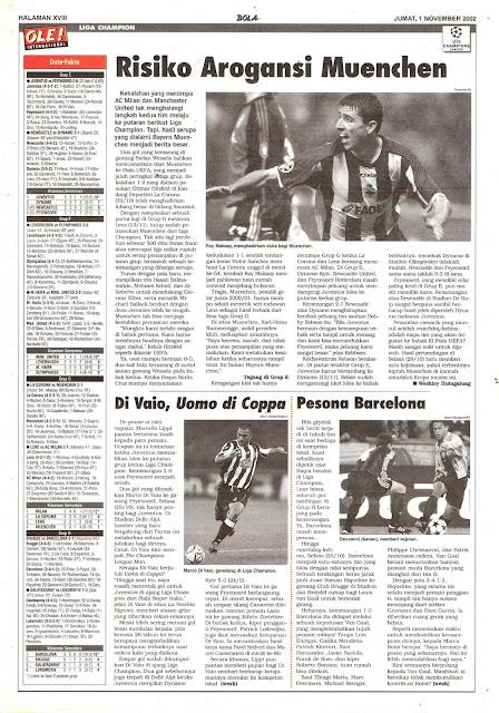 CHAMPIONS LEAGUE NEWS 2001