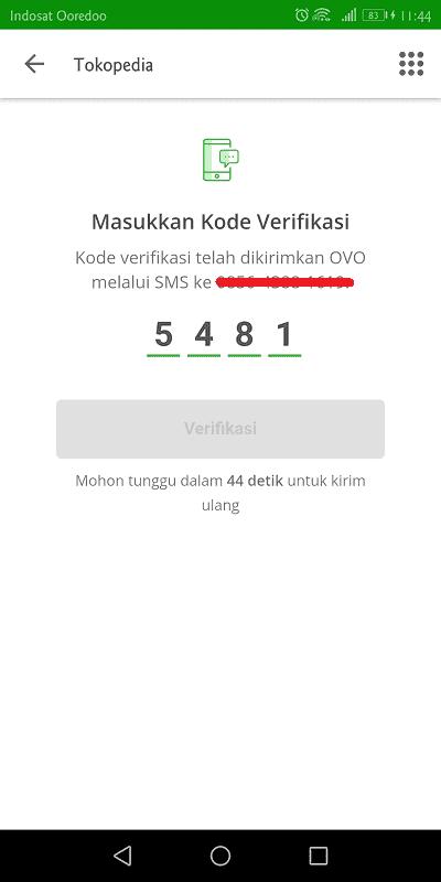 memasukkan kode verifikasi yang dikirimkan ovo melalui sms