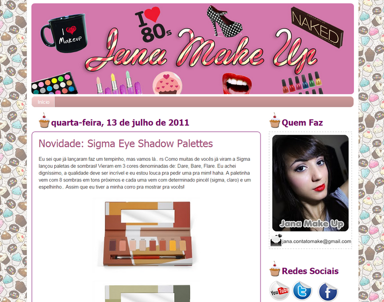 Layout blog antigo Jana make up