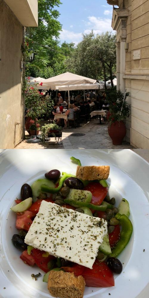 Greek salad lunch al fresco, Athens Greece