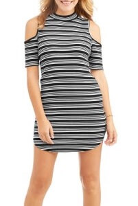 Walmart No Boundaries Juniors' Mock Neck Cold Shoulder Rib Knit Dress