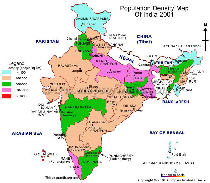 Population distribution of india