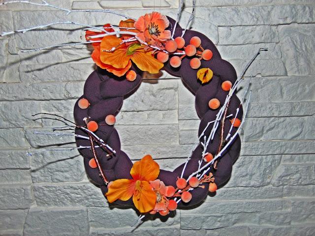 jesienny wianek z materiału DIY