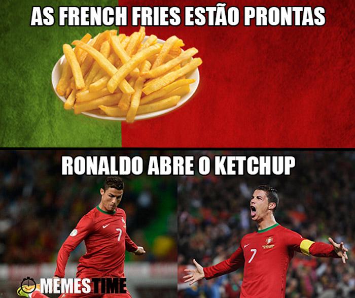 Meme Cristiano Ronaldo – As French Fries estão prontas, Ronaldo abre o Ketchup