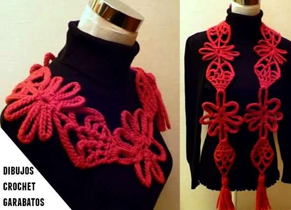 Bufanda o collar con garabatos de cadenetas