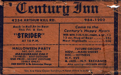 The Century Inn club on Staten Island band line up 1976. We used to see Sticky Fingers there ALL the time. Fuckin' Larry LaRue RULES!!!!