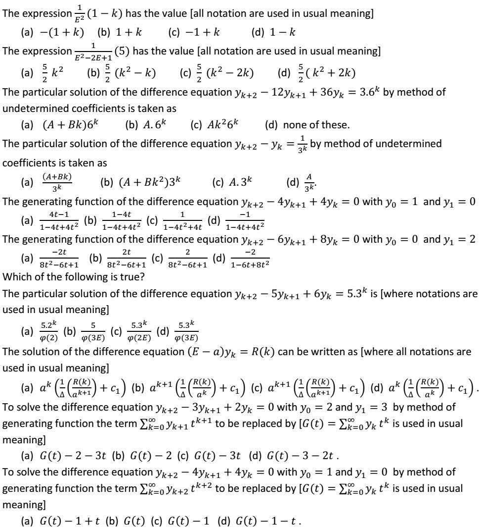 Mth 401 Discrete Mathematics Mcqs Questions Unit 1 Unit 2 Unit 3 Lpu Notes D Mathamatics