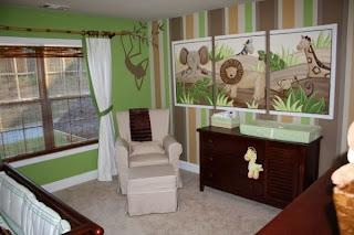Dormitorio para bebé en verde y marrón