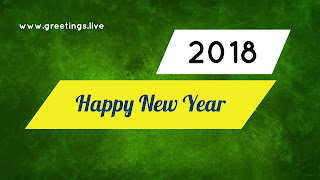 Yellow green white combination Happy new year 2018 image