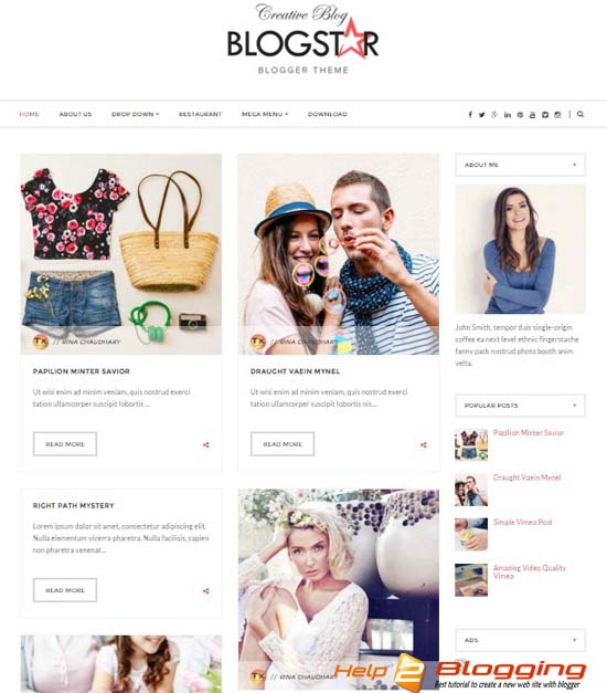 BLOGSTAR-Blogger Template Free Download