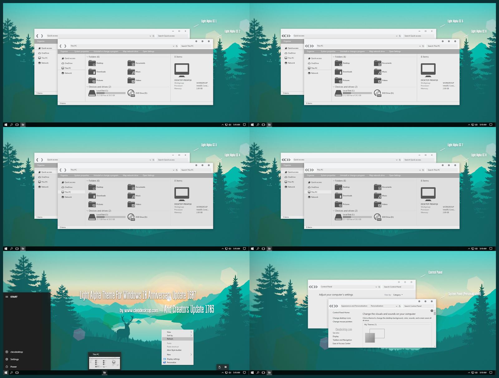 Light Alpha CC Theme Windows10 Creators Update 1703   Windows10 Themes I Cleodesktop