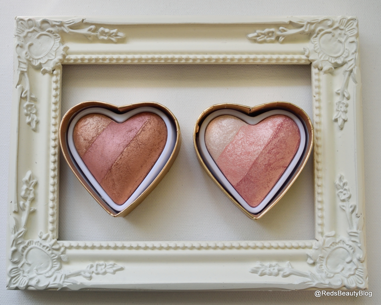 a picture of Iced Hearts and Peachy Keen Heart from Makeup Revolution Blushing Hearts