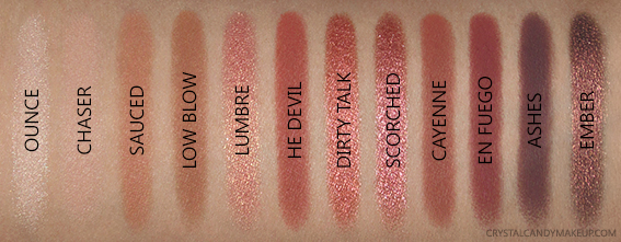 Urban Decay UD Naked Heat Eyeshadow Palette Swatches