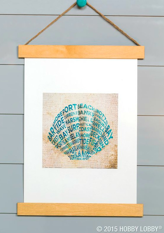 Inexpensive Diy Coastal Poster No Frame Art Hanging Idea