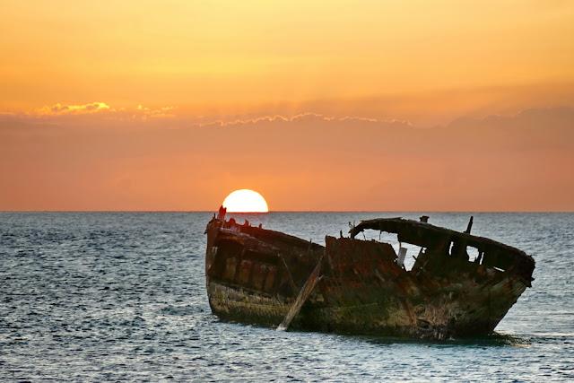 Sonnenuntergang Wrack Schiff Schiffswrack Heron Island Insel Meer