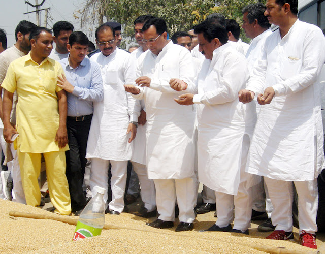 Finance Minister, Capt. Abhimanyu inspection at Anaj mandi in Kurukshetra