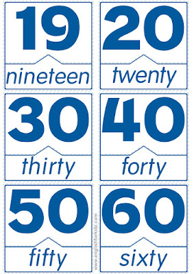 numbers in English flashcards