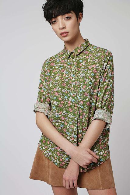 khaki ditsy print shirt, green ditzy print shirt,