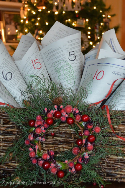 Rustic Christmas Newspaper advent calendar in a basket