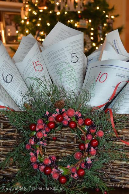 Rustic Christmas Newspaper advent calendar in a basket