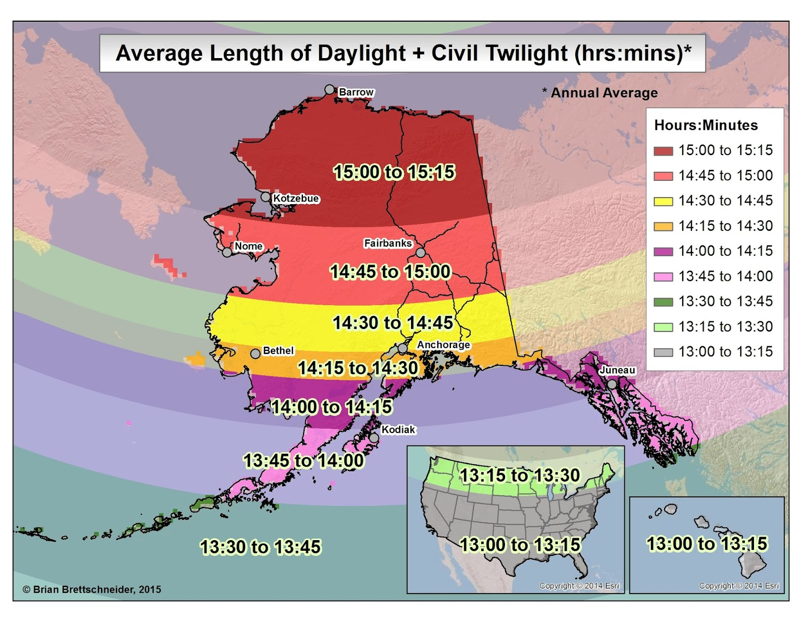 Average Length Of Daylight Plus Civil Twilight For All Days Of The Year Same As Fig 6 And Fig 7 But An Alaska Centered Perspective